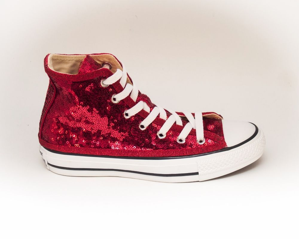 15ed2125ca68 Red Starlight Sequin Hi Top Canvas Sneakers Shoes  Handmade  FashionSneakers