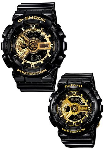 c30a228560c7 Casio G-Shock and Baby-G Couple Black Resin Strap Watches GA-110GB ...