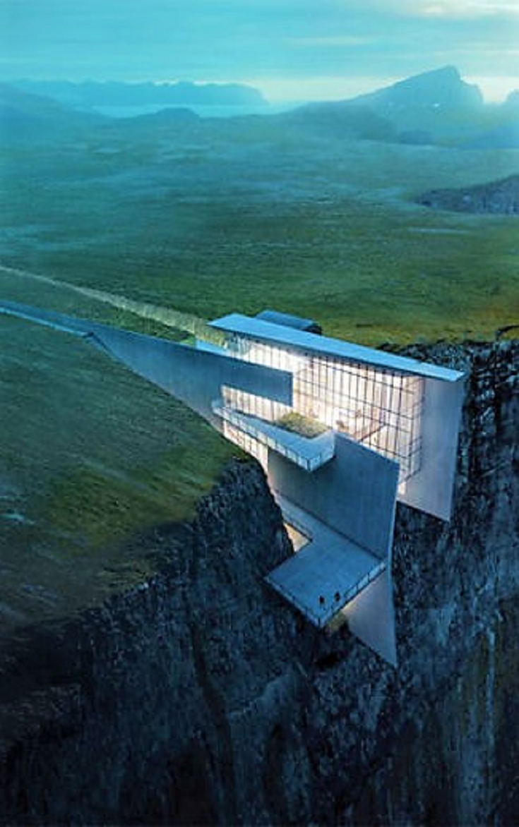 This Architects Stunning Concept Home Hangs from a Cliffside in Iceland
