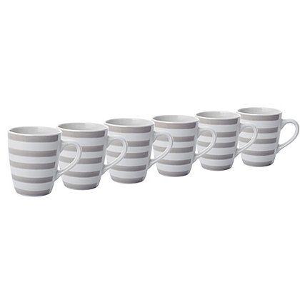 Natural Stripe Mugs - Set of 6 Cups  Mugs George at ASDA home - asda halloween decorations