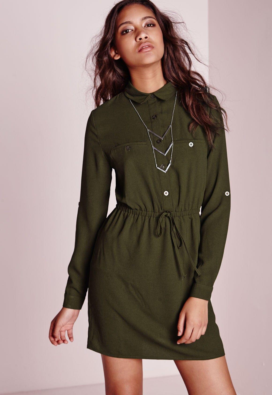 Missguided drawstring waist shirt dress khaki stylemilitary
