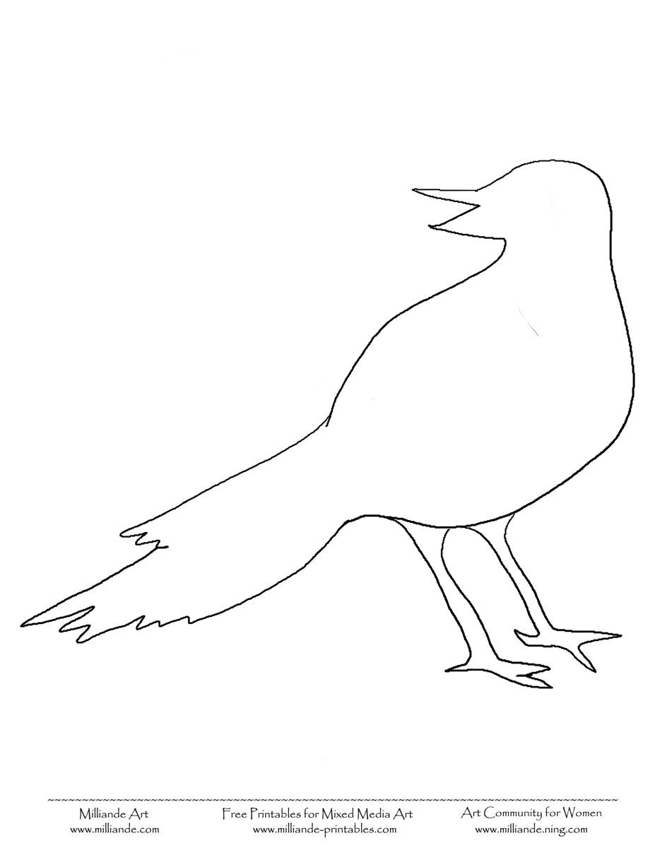 bird template printable bird coloring pages crow free printable