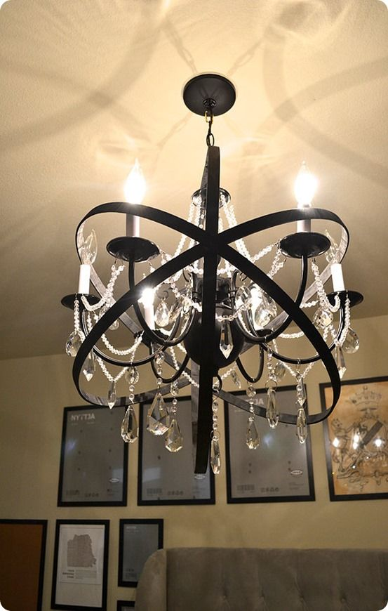 Diy home decor restoration hardware knock off orb chandelier made diy home decor restoration hardware knock off orb chandelier made with a plain chandelier crystals and large embroidery hoops aloadofball Gallery