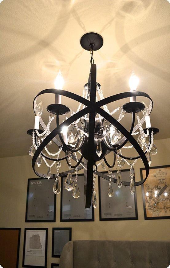 DIY Home Decor Restoration Hardware Knock Off Orb Chandelier Made - Orb chandelier with crystals