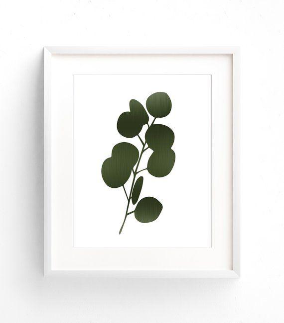 Green Leaf Prints, Large Art Prints, Dark Green Botanical