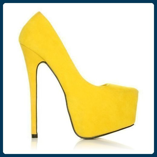 TIA Pumps High Heels Kunstwildleder Gelb Stiletto Plateau Peep Toe Schuhe - Gelb Wildleder, Synthetik, 38