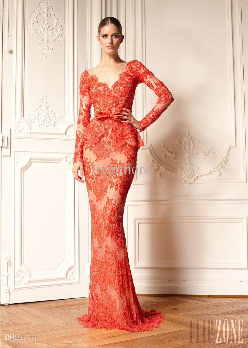 Cheap tarik ediz red prom dresses long sleeve beaded sheer crew