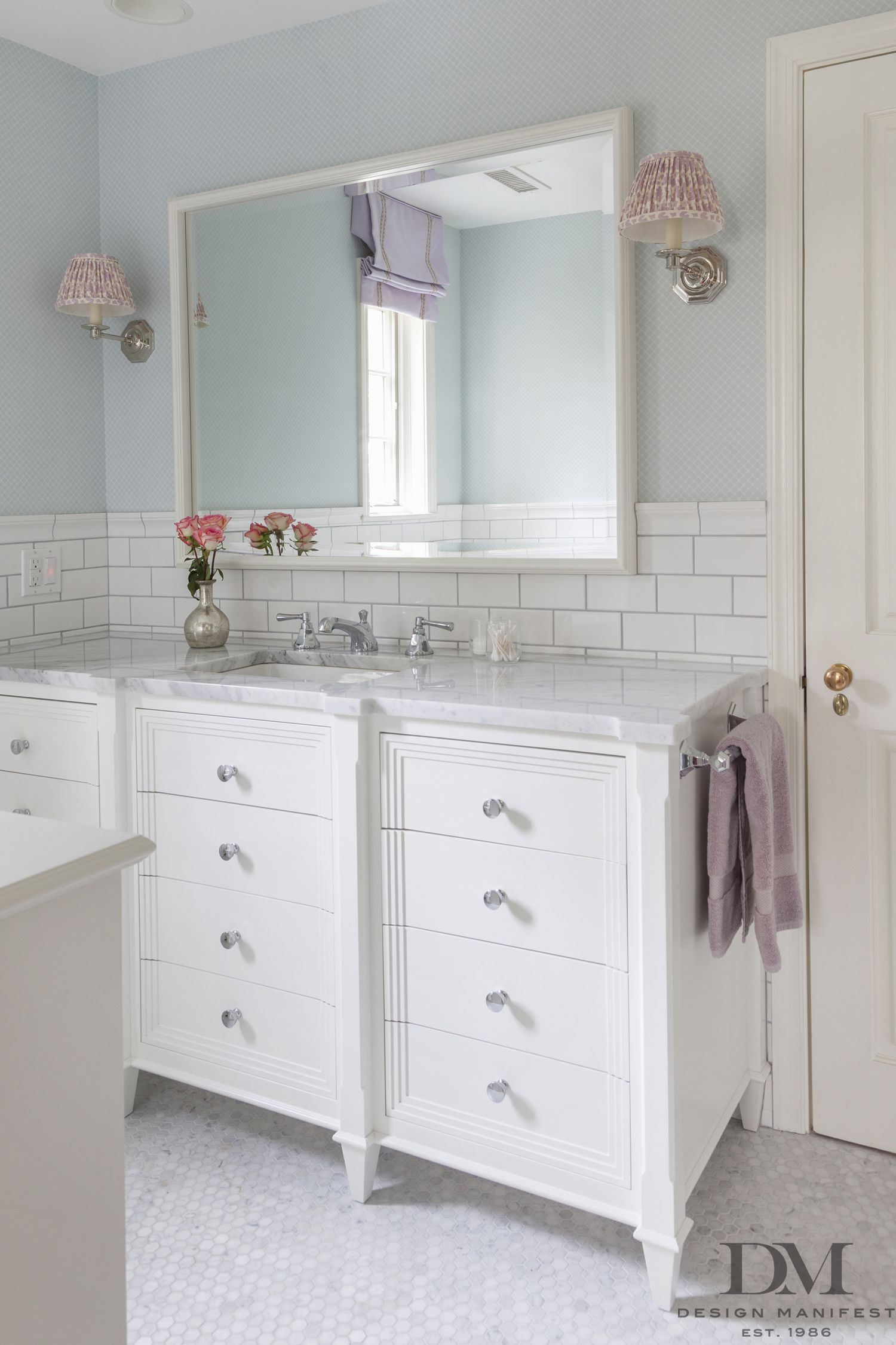 White Framed Vanity hexagon mable floor carrera white subway-Bath By ...