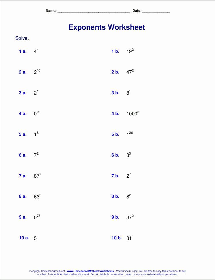 Multiplication Properties Of Exponents Worksheet Best Of ...