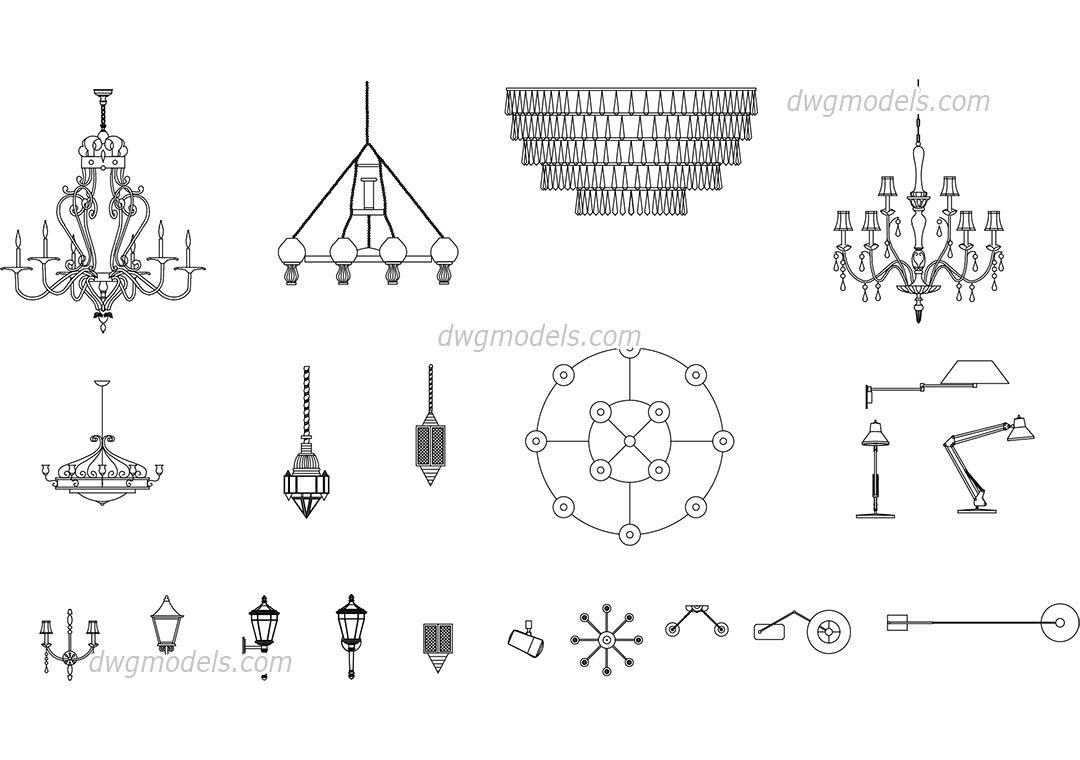 Lamps Chandeliers CAD Blocks Free Dwg File CAD Blocks - Conference table dwg