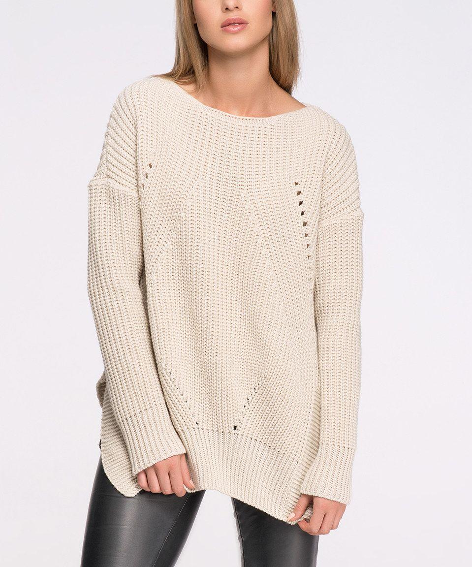 Another great find on #zulily! Makadamia Beige Side-Slit Sweater by Makadamia #zulilyfinds