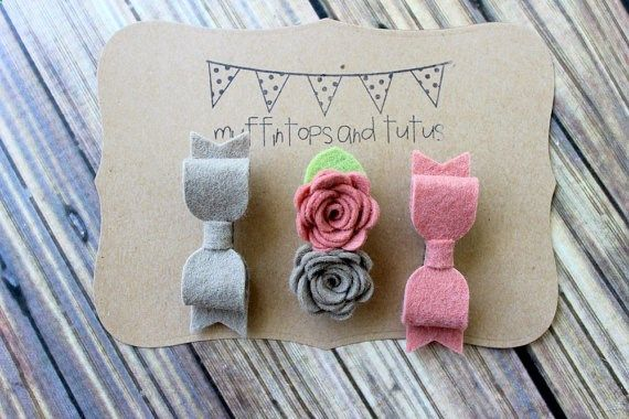 Felt hair clips baby toddler girls hair by muffintopsandtutus