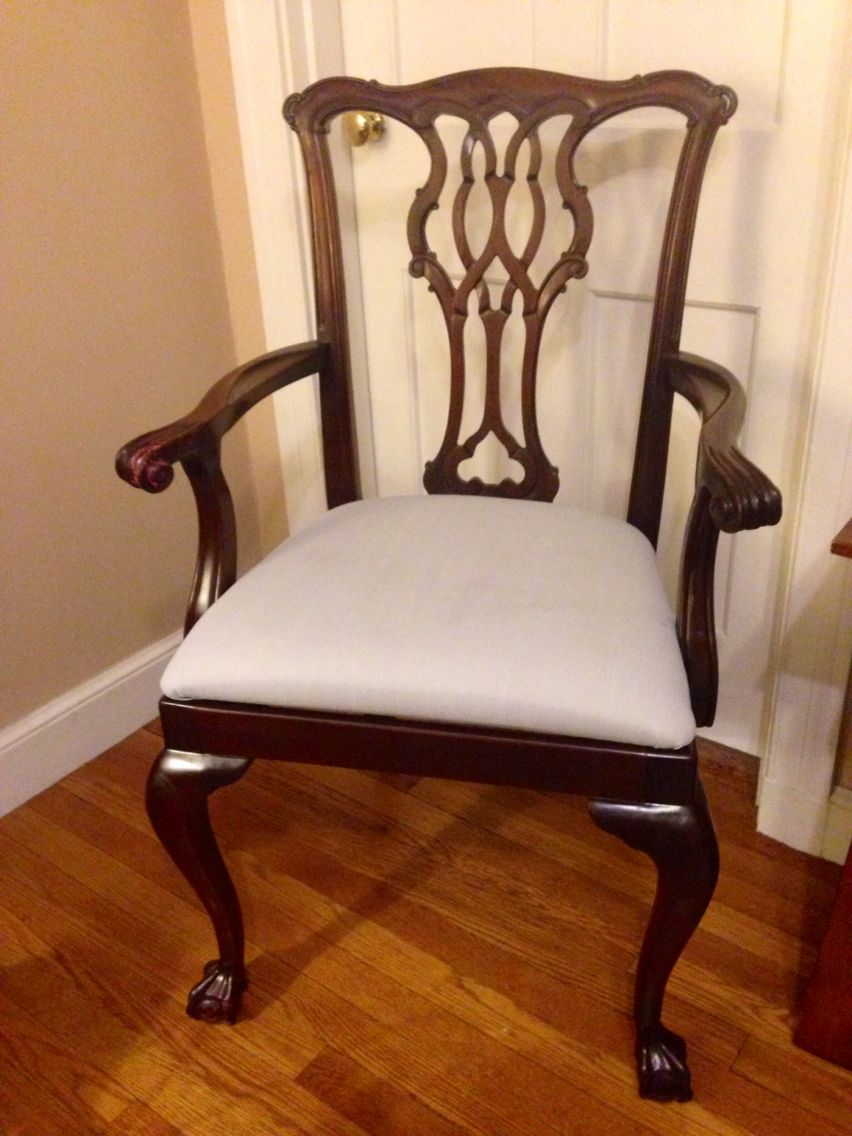 councill furniture mahogany ball and claw foot arm chair i painted the worn upholstery with