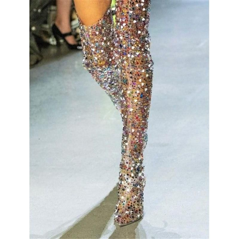 5bfd469f074 Luxury Transparent PVC Colorful Rhinestone Studded Thigh High Boots ...