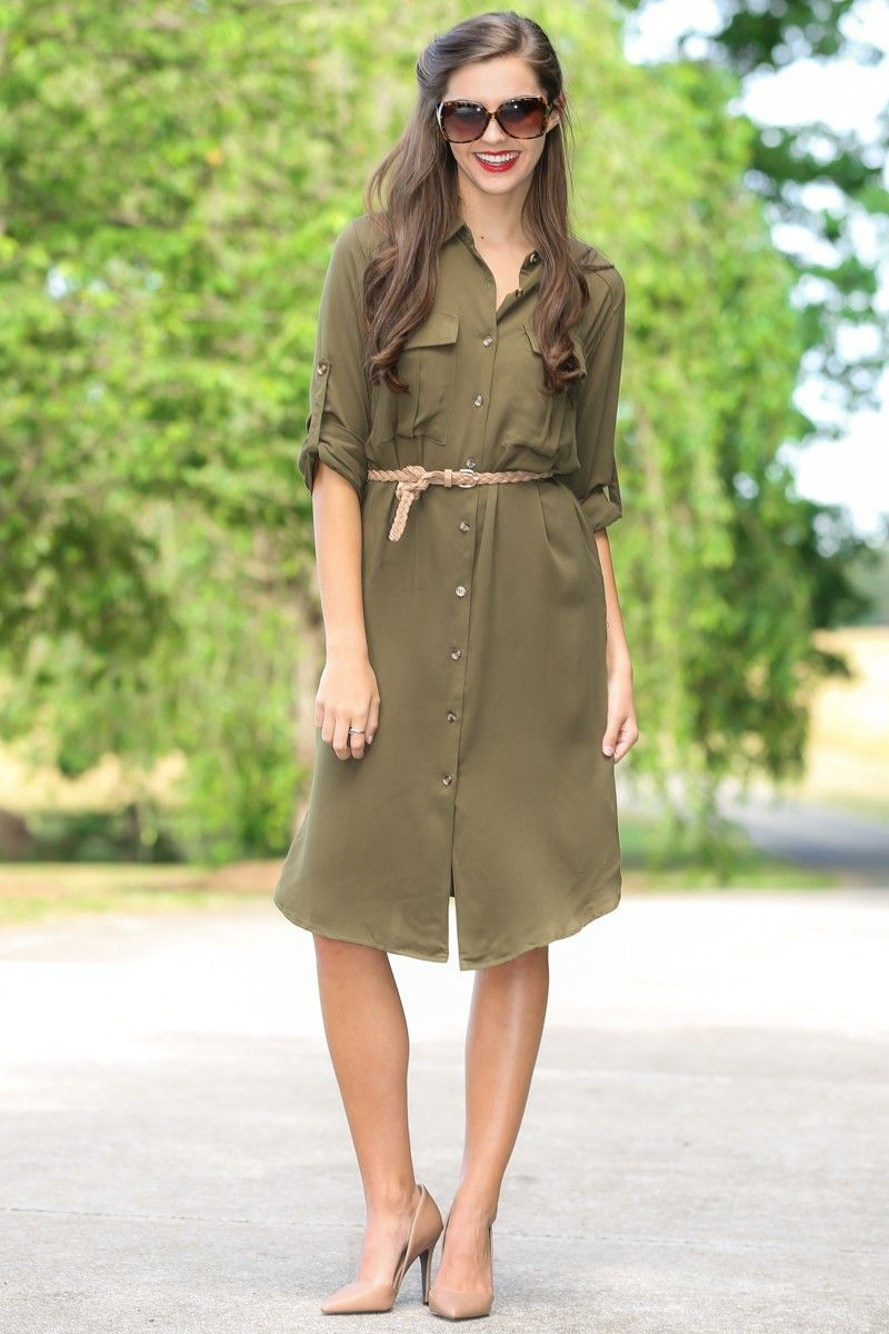 4689126434 All The Rage Olive Green Shirt Dress
