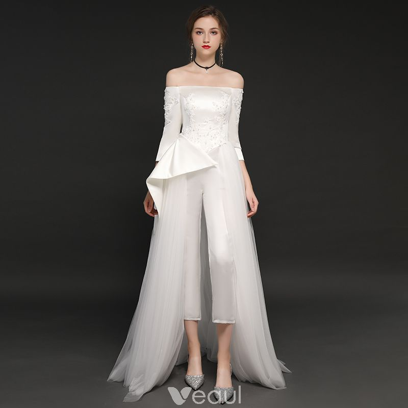 Luxury Tulle Three Quarter Sleeve A Line Wedding Dress: Elegant Ivory Satin Jumpsuit 2019 A-Line / Princess Off