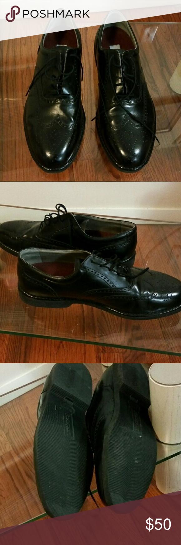 Men's Black Leather Rockport Lace Up Shoes Size 10.5 Wide Rockport Shoes Oxfords & Derbys