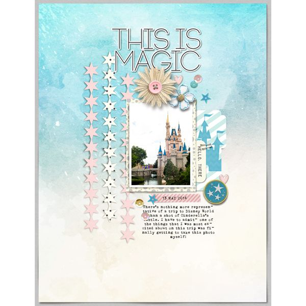 This is Magic Disney digital scrapbooking layout using Project Mouse: Beginnings Kit and Journal Cards by Sahlin Studio and Britt-ish Designs