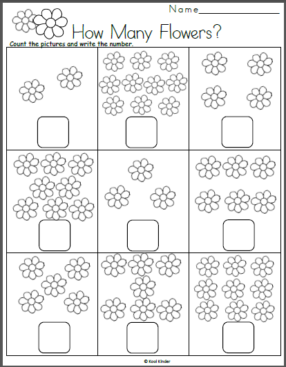 Free Spring Math Worksheet - Count the Flowers | Flowers + Gardening ...