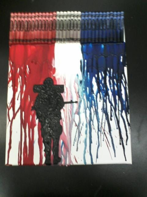 Soldier melted crayon painting crayon painting melted for How to make a melted crayon art canvas