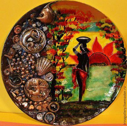 Тарелки ручной работы. Ярмарка Мастеров - ручная работа. Купить В дельте Окаванго. Handmade. Шикарный подарок, африканский стиль