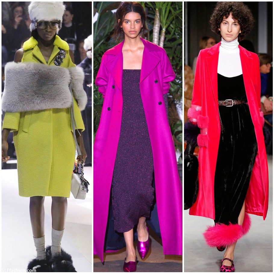 Trendy Coat for FW17: Neon color Coats. Anya Hindmarch, Creatures of Comfort, and Simonetta Ravizza Fall Winter 2017.