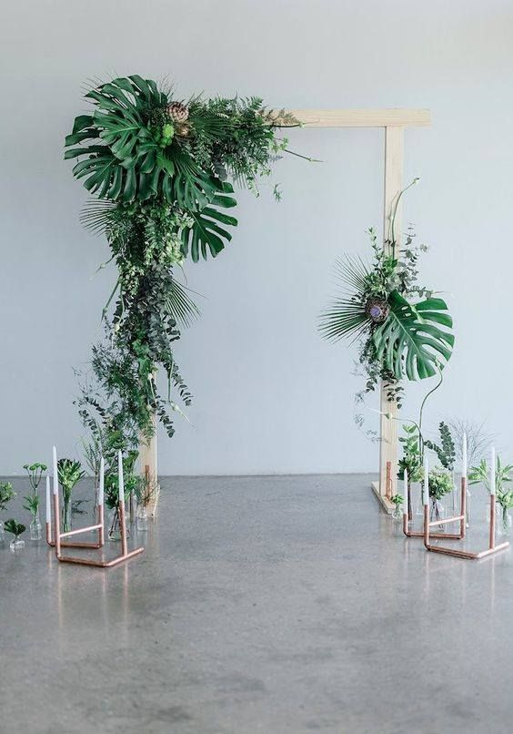 Tropical Wedding Backdrop Idea   Wedding arch greenery, Wedding ...