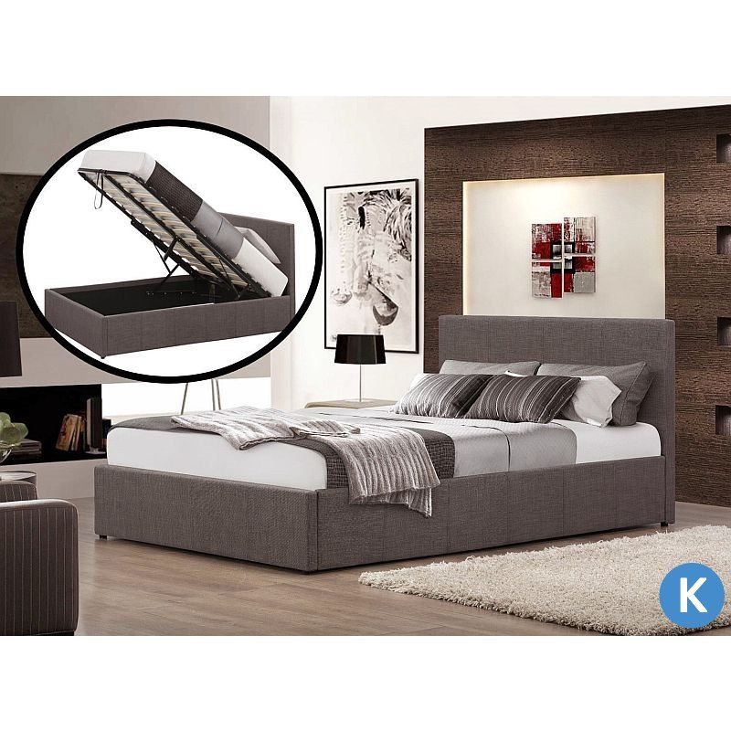 King Size Fabric Gas Lift Storage Bed Frame Grey | Buy King Size Bed ...