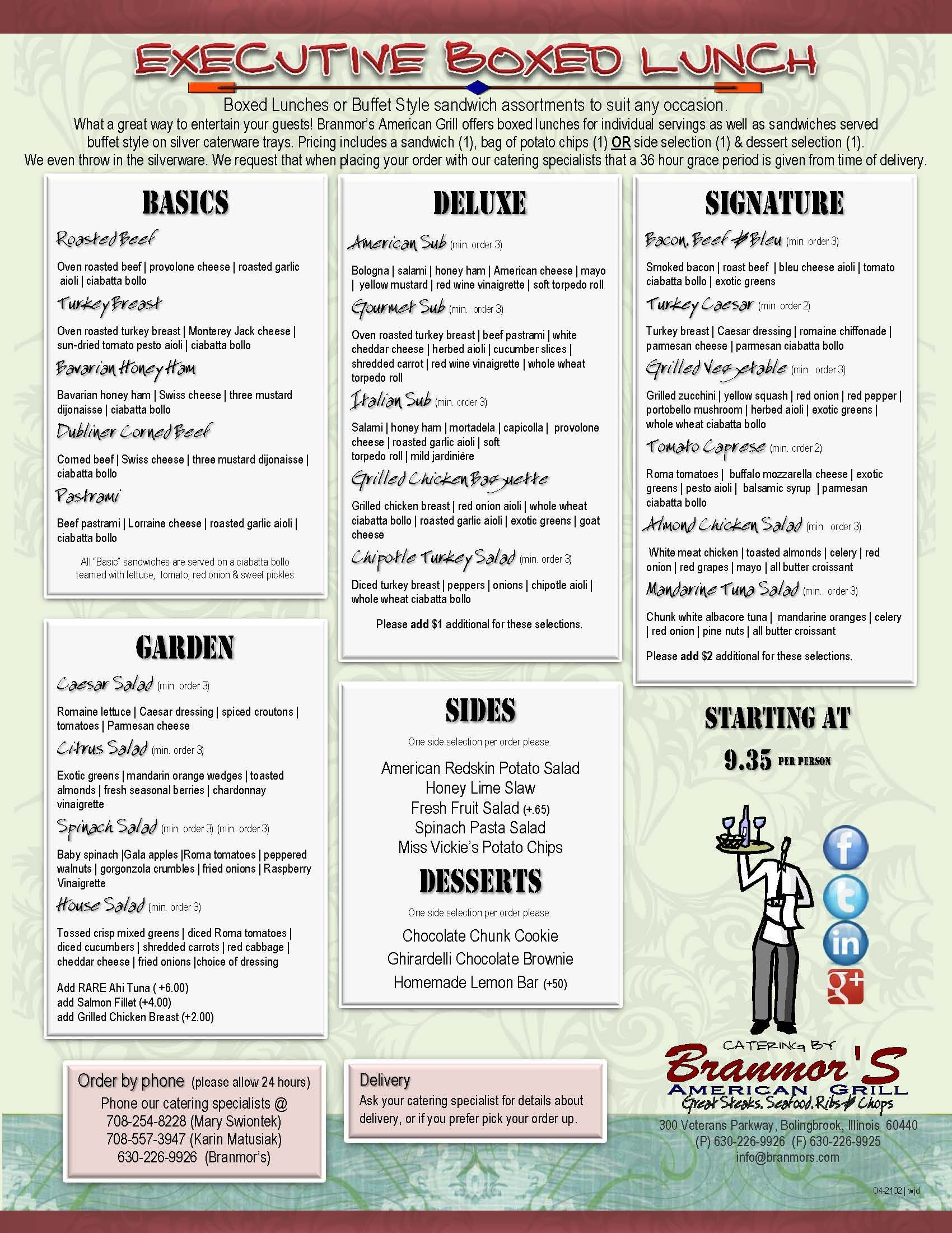 2012 Catering Executive Box Lunch Menu Branmor S American Grill Catering Menu Design Catering Boxed Lunch Catering