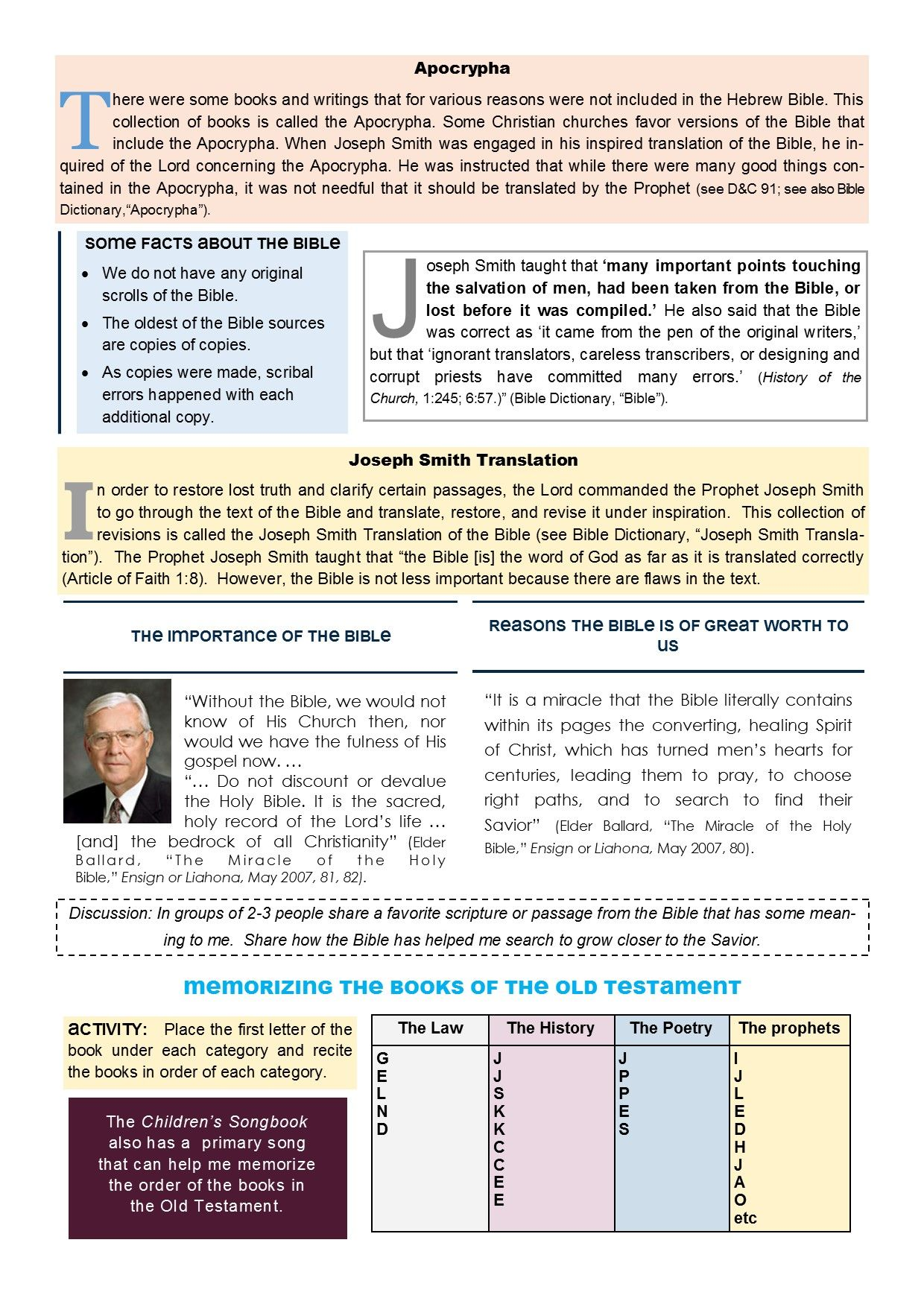 Old Testament Seminary Lesson 5 Worksheet Page 2 With