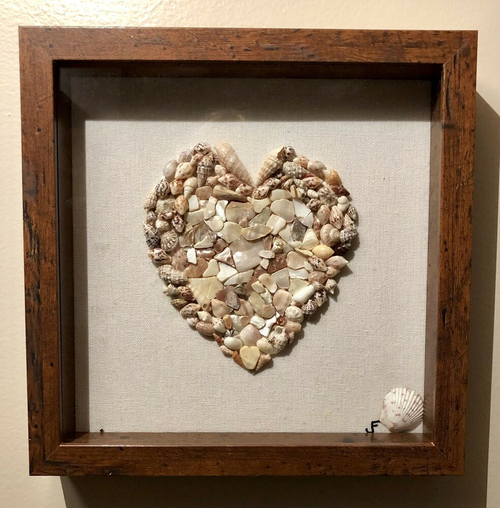 Shadow Box Dark Brown 10x10 Frame Seashells Heart Beach Theme Ebay Seashell Shadow Boxes Beach Theme Decor Beach Wall Art