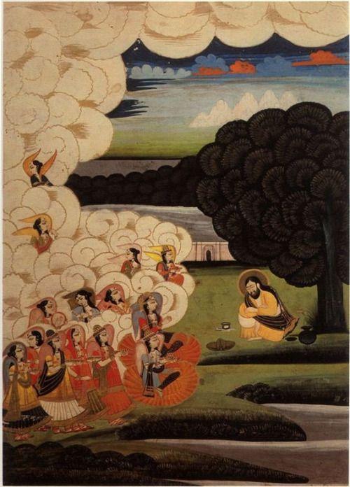 Angels visiting the reclusive Sufi saint Sultan Ibrahim ibn...