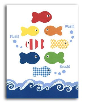 This 'Flush, Wash, Brush' Print by Peanut and Buttons is perfect! #zulilyfinds
