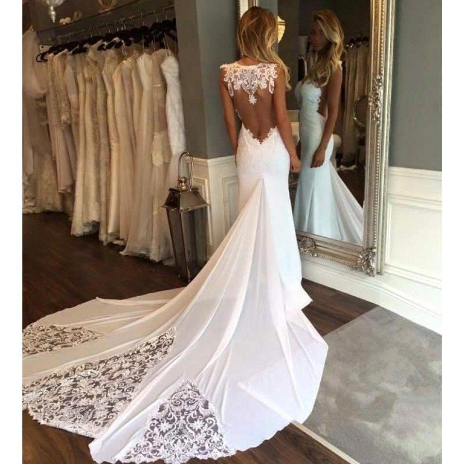 Sleeveless chapeltrain appliques newest mermaid wedding dress