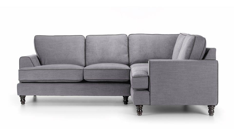 Bonnie Light Grey Corner Sofa With Dark Piping Modern Co Uk