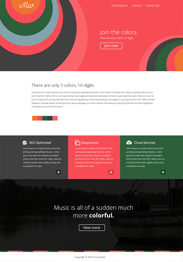 Flat Style Web Template | Freebies | Free html templates, Free html