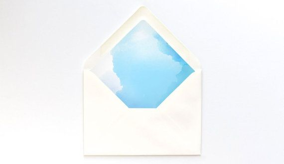 Blue Watercolor Envelope Liner Template  A Euro Flap  Diy