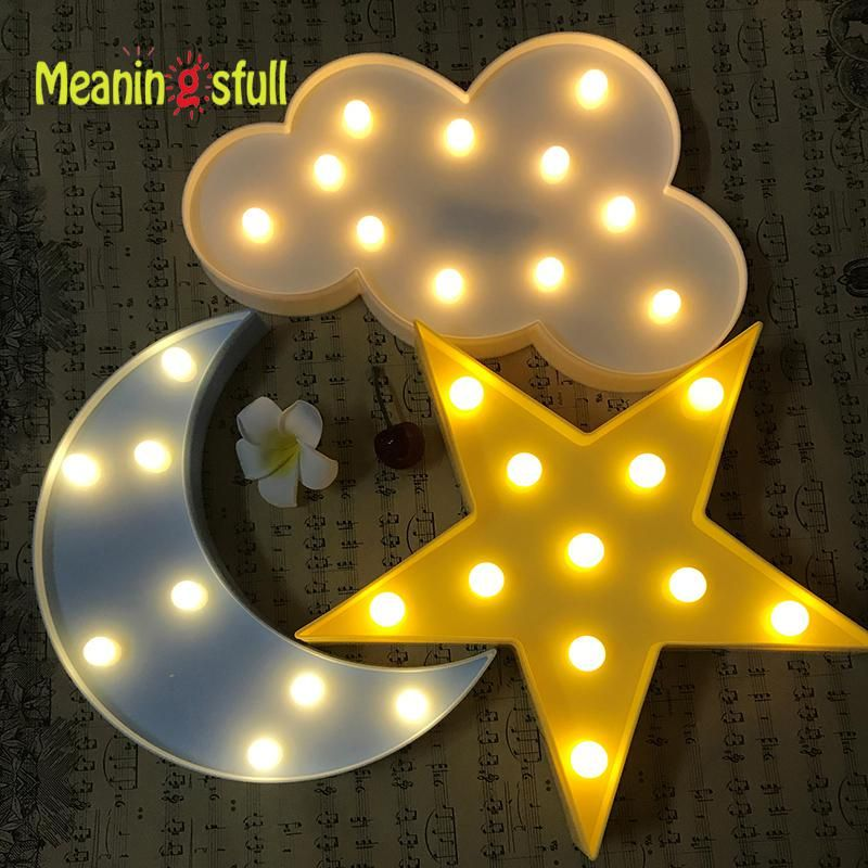 Meaningsfull Led Flamingo Night Light Marquee Sign Star Cactus Table Lamps Romantic 3d Wall Lamp Kids Children Gift Hom Wall Lamp Marquee Sign Star Night Light