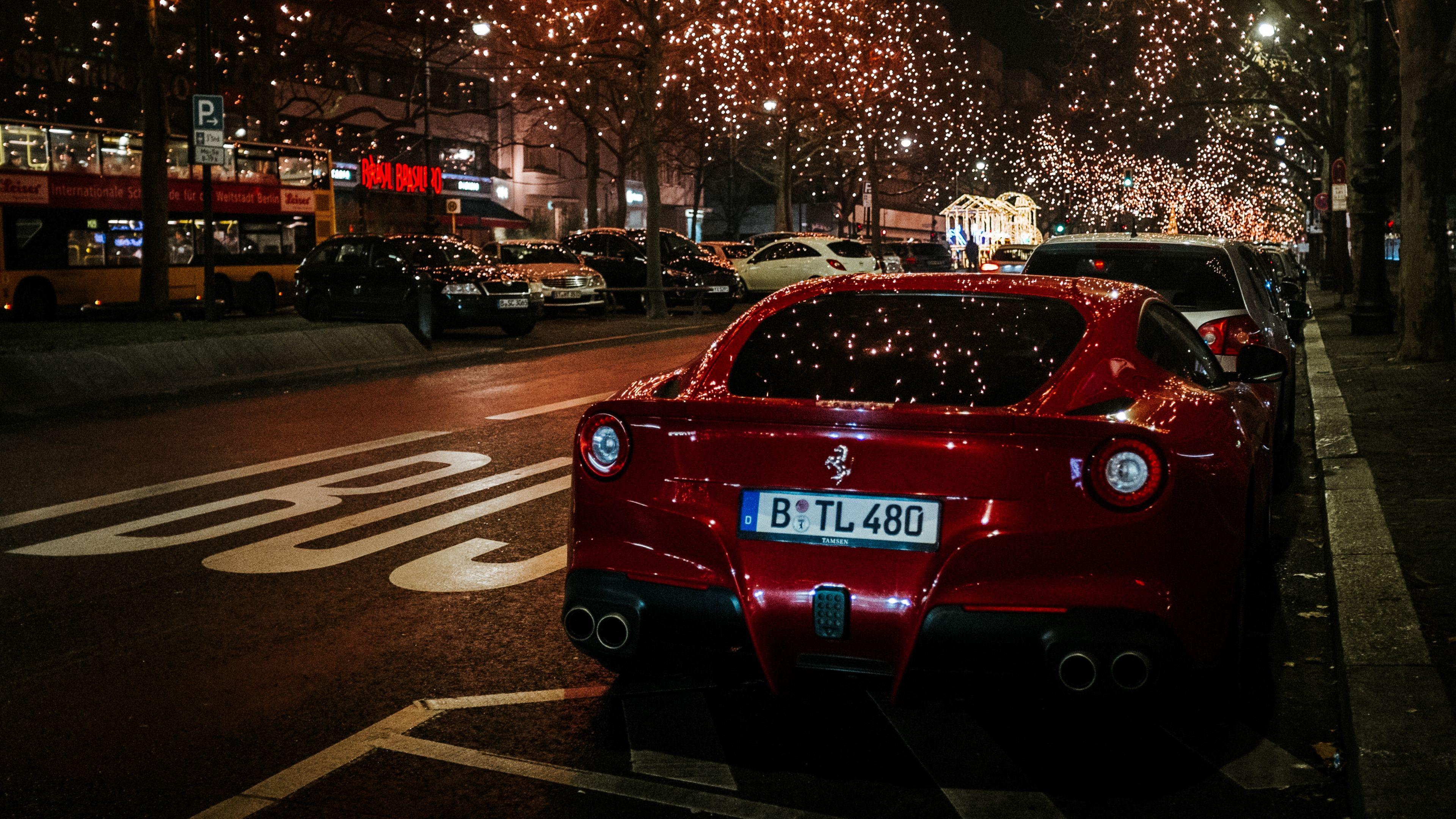 Wallpaper 4k Ferrari Rear View Red Night City Scenery 4k
