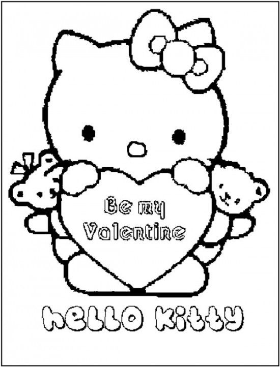 Free Hello Kitty Happy Valentines Day Coloring Page Picture 3 ...