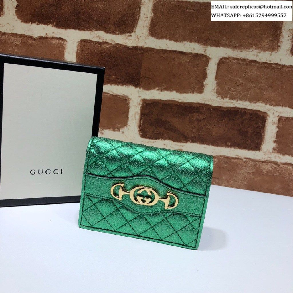 Gucci Laminated Leather Card Case 536353 Green Luxury