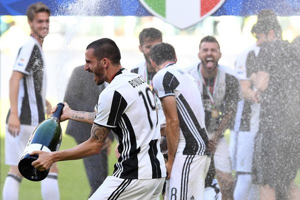Leonardo Bonucci of Juventus FC celebrates after beating FC Crotone 3-0 to win the Serie A Championships at the end of the Serie A match between Juventus FC and FC Crotone at Juventus Stadium on May 21, 2017 in Turin, Italy.
