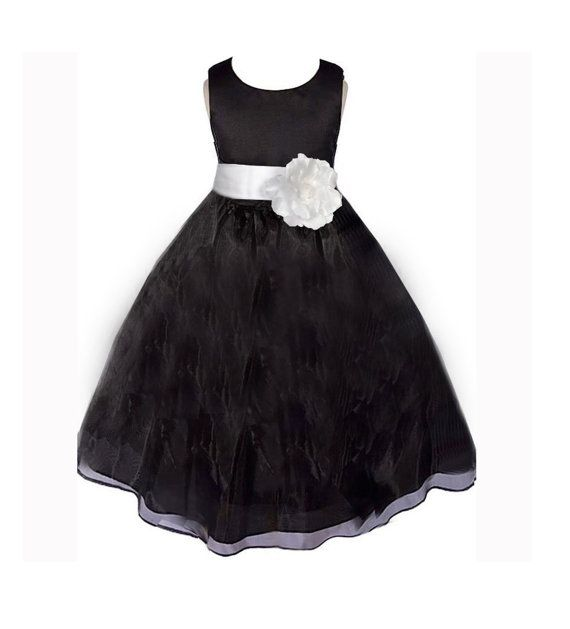 Black Flower Girl Dress Sash Pageant Organza Wedding Bridal