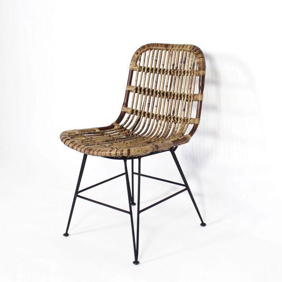 Chaise En Rotin Brun Pieds En Metal Chaise Rotin Mobilier De Salon Meuble En Pin Massif