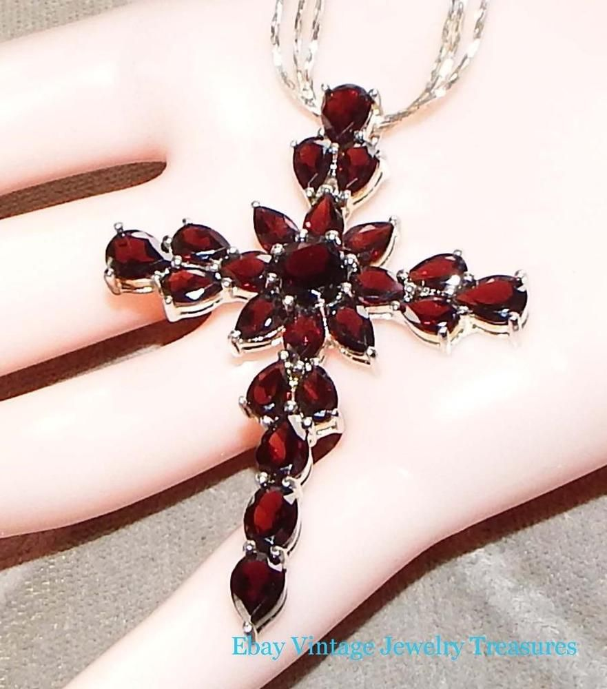 Estate large garnet cross pendant sterling silver necklace pendant estate large garnet cross pendant sterling silver necklace pendant aloadofball Images