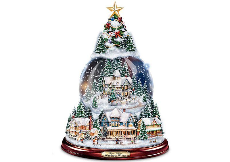 Bradford Exchange Thomas Kinkade Snowfall Express Light Up Musical Snowman Snowglobe Train by The