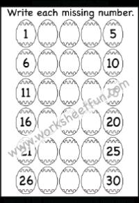 Easter Worksheets – Missing Numbers – 1 – 30