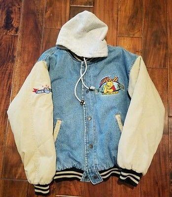 668a98b4708c Disney Winnie Pooh Bomber Denim Jacket Varsity Vintage Size Small ...