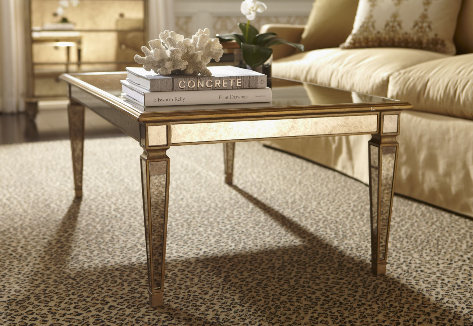 Mirrored Metallic Magnificent Coffee Table Small Coffee Table Living Room Coffee Table