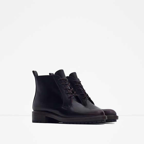 Image 4 of FLAT ANKLE BOOTS WITH LACES from Zara